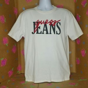 Vintage 90's GUESS JEANS  White TShirt Size Small